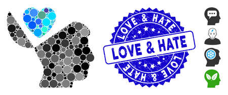 Mosaic open mind love heart icon and grunge stamp seal with Love & Hate phrase. Mosaic vector is composed with open mind love heart icon and with random circle elements.