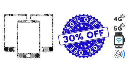 Mosaic mobile phones icon and grunge stamp seal with 30% Off text. Mosaic vector is formed from mobile phones icon and with randomized spheric spots. 30% Off stamp seal uses blue color,