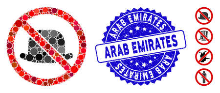 Mosaic no hat icon and rubber stamp watermark with Arab Emirates caption. Mosaic vector is formed with no hat icon and with randomized spheric spots. Arab Emirates stamp seal uses blue color,