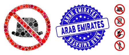 Mosaico sin icono de sombrero y marca de agua de sello de goma con el título de Emiratos Árabes Unidos. El vector de mosaico se forma sin un icono de sombrero y con manchas esféricas aleatorias. Sello de sello de los Emiratos Árabes Unidos utiliza color azul,