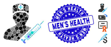 Mosaic medic icon and grunge stamp watermark with MenS Health caption. Mosaic vector is designed with medic icon and with random spheric elements. MenS Health stamp uses blue color,