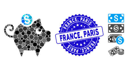 Mosaic piggy bank icon and distressed stamp seal with France, Paris caption. Mosaic vector is composed with piggy bank icon and with randomized round items. France, Paris stamp seal uses blue color,