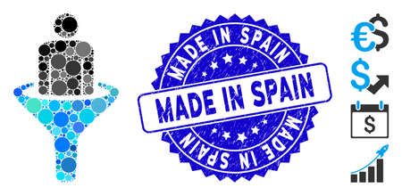 Mosaic sales funnel icon and grunge stamp seal with Made in Spain caption. Mosaic vector is composed from sales funnel icon and with random round elements. Made in Spain stamp uses blue color, Illustration