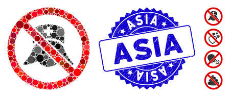 Mosaic no medical nurses icon and corroded stamp seal with Asia caption. Mosaic vector is created with no medical nurses pictogram and with random circle spots. Asia stamp seal uses blue color,