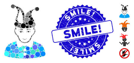 Mosaic fool icon and rubber stamp watermark with Smile! caption. Mosaic vector is composed from fool icon and with scattered spheric elements. Smile! stamp seal uses blue color, and rubber surface.
