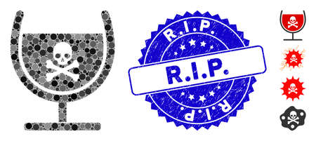 Mosaic poison glass icon and grunge stamp seal with R.I.P. phrase. Mosaic vector is composed with poison glass icon and with randomized spheric spots. R.I.P. seal uses blue color,