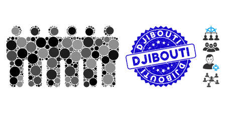 Mosaic people demographics icon and rubber stamp seal with Djibouti caption. Mosaic vector is designed with people demographics icon and with random circle elements.