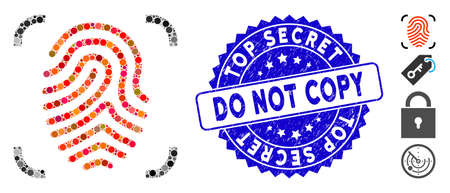 Mosaic fingerprint scan icon and distressed stamp watermark with Top Secret Do Not Copy caption. Mosaic vector is designed with fingerprint scan icon and with random round items.  イラスト・ベクター素材