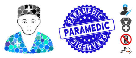 Mosaic medic icon and rubber stamp watermark with Paramedic phrase. Mosaic vector is formed with medic icon and with randomized round items. Paramedic stamp uses blue color, and grunge design.