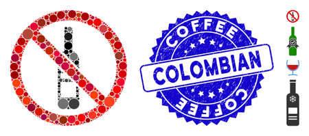 Mosaic no wine bottle icon and corroded stamp seal with Coffee Colombian text. Mosaic vector is formed with no wine bottle icon and with random spheric elements. Coffee Colombian seal uses blue color,