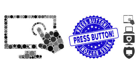 Mosaic PC screen tap icon and corroded stamp seal with Press Button! phrase. Mosaic vector is designed with PC screen tap pictogram and with scattered circle elements.