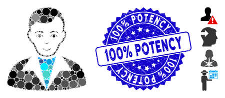 Collage guy icon and distressed stamp seal with 100% Potency phrase. Mosaic vector is composed with guy icon and with randomized spheric items. 100% Potency stamp seal uses blue color,