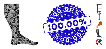 Mosaic leg icon and grunge stamp watermark with 100.00% text. Mosaic vector is formed with leg pictogram and with randomized round elements. 100.00% stamp uses blue color, and grunge texture. Иллюстрация