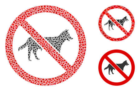 No dog bitch icon mosaic of joggly elements in different sizes and color hues, based on no dog bitch icon. Vector uneven elements are grouped into mosaic. Reklamní fotografie - 138241438