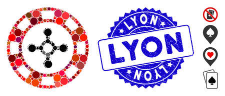 Mosaic roulette casino chip icon and corroded stamp watermark with Lyon text. Mosaic vector is formed with roulette casino chip icon and with random circle spots. Lyon stamp seal uses blue color, Illustration