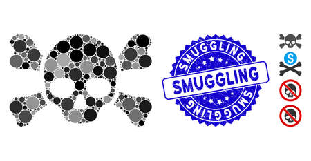 Mosaic skull crossbones icon and distressed stamp seal with Smuggling phrase. Mosaic vector is designed with skull crossbones icon and with random spheric items. Smuggling seal uses blue color, Ilustracja