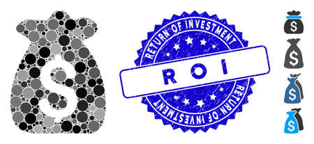 Mosaic financial capital icon and rubber stamp watermark with Return of Investment R O I caption. Mosaic vector is composed with financial capital icon and with randomized spheric spots.