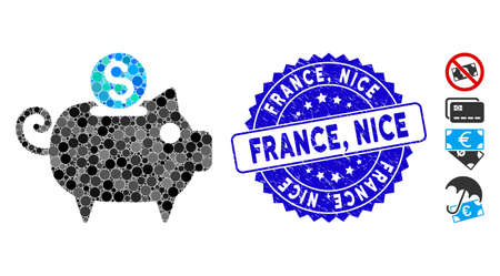 Mosaic piggy bank icon and distressed stamp watermark with France, Nice phrase. Mosaic vector is formed with piggy bank icon and with randomized spheric items. France, Nice stamp uses blue color,
