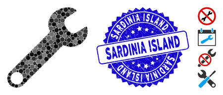 Mosaic wrench icon and corroded stamp seal with Sardinia Island phrase. Mosaic vector is created from wrench icon and with scattered round spots. Sardinia Island stamp seal uses blue color, Banco de Imagens - 138243311