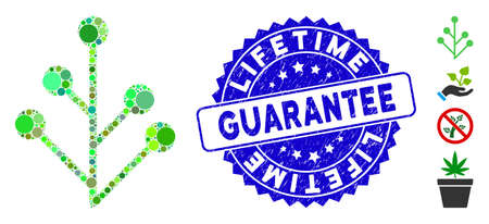 Mosaic plant sprout icon and corroded stamp seal with Lifetime Guarantee phrase. Mosaic vector is formed with plant sprout icon and with random round elements.