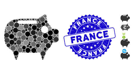 Mosaic piggy bank icon and corroded stamp watermark with France text. Mosaic vector is formed with piggy bank icon and with scattered spheric elements. France stamp uses blue color,