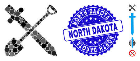 Mosaic sword and shovel icon and rubber stamp watermark with North Dakota phrase. Mosaic vector is composed with sword and shovel pictogram and with scattered round elements.