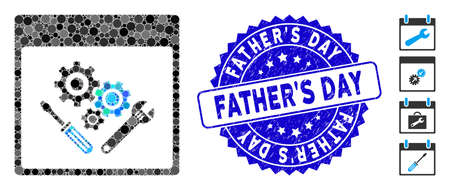 Mosaic gear tools calendar page icon and corroded stamp seal with FatherS Day caption. Mosaic vector is designed with gear tools calendar page icon and with random circle spots.