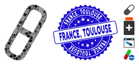 Mosaic pill icon and rubber stamp seal with France, Toulouse caption. Mosaic vector is designed with pill icon and with scattered spheric spots. France, Toulouse stamp seal uses blue color,