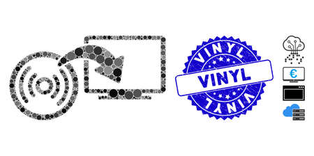 Mosaic install disc to PC icon and grunge stamp seal with Vinyl text. Mosaic vector is designed with install disc to PC icon and with scattered round items. Vinyl stamp uses blue color,