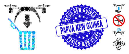 Mosaic trash drone icon and corroded stamp seal with Papua New Guinea caption. Mosaic vector is formed with trash drone icon and with random circle items. Papua New Guinea stamp seal uses blue color,