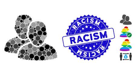 Mosaic users icon and rubber stamp seal with Racism caption. Mosaic vector is designed from users icon and with randomized circle spots. Racism stamp seal uses blue color, and grunged surface.