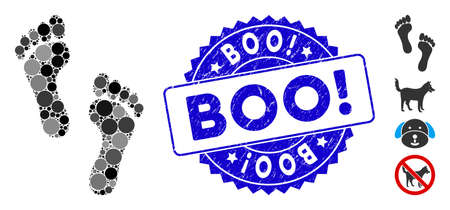 Mosaic footprints icon and rubber stamp seal with Boo! caption. Mosaic vector is formed with footprints icon and with scattered round elements. Boo! stamp seal uses blue color, and grunge texture. Иллюстрация