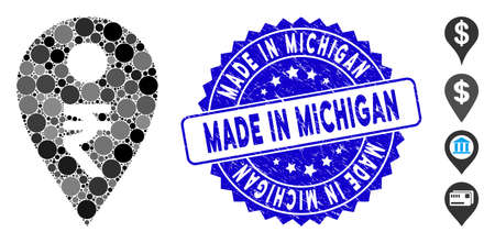 Mosaic rupee map marker icon and corroded stamp seal with Made in Michigan phrase. Mosaic vector is composed with rupee map marker icon and with scattered circle elements.