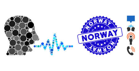 Mosaic talking user signal icon and corroded stamp seal with Norway caption. Mosaic vector is formed with talking user signal icon and with scattered round items. Norway stamp uses blue color,