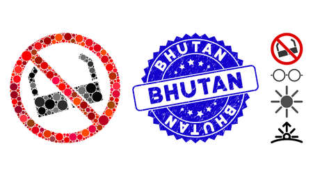 Mosaic no sun glasses icon and grunge stamp seal with Bhutan phrase. Mosaic vector is created from no sun glasses icon and with random circle spots. Bhutan stamp seal uses blue color,