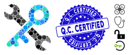 Mosaic key tools icon and rubber stamp seal with Q.C. Certified text. Mosaic vector is designed with key tools icon and with random circle spots. Q.C. Certified stamp seal uses blue color,