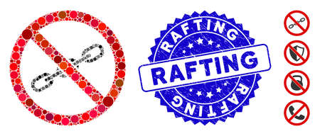 Mosaic no chain icon and rubber stamp seal with Rafting text. Mosaic vector is created with no chain pictogram and with scattered circle elements. Rafting stamp seal uses blue color, Иллюстрация