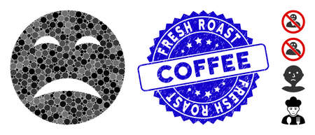 Mosaic pity smiley icon and corroded stamp seal with Fresh Roast Coffee caption. Mosaic vector is designed from pity smiley icon and with random spheric spots. Fresh Roast Coffee seal uses blue color,