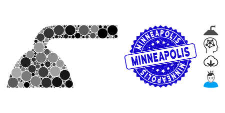 Mosaic shower head icon and grunge stamp seal with Minneapolis caption. Mosaic vector is created with shower head pictogram and with randomized round elements. Minneapolis stamp seal uses blue color,