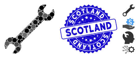 Mosaic wrench icon and distressed stamp seal with Scotland caption. Mosaic vector is composed with wrench icon and with randomized spheric items. Scotland stamp seal uses blue color, Banco de Imagens - 138243999