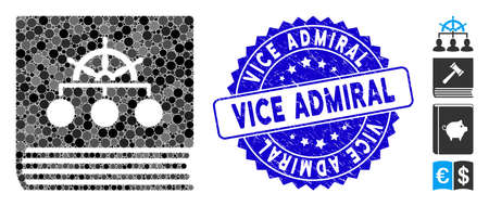 Mosaic ship guide book icon and corroded stamp seal with Vice Admiral caption. Mosaic vector is formed from ship guide book icon and with random spheric items. Vice Admiral stamp seal uses blue color,