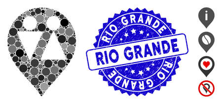 Mosaic WC map marker icon and rubber stamp seal with Rio Grande caption. Mosaic vector is created from WC map marker icon and with scattered round elements. Rio Grande stamp seal uses blue color,