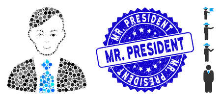 Mosaic leader icon and distressed stamp seal with Mr. President text. Mosaic vector is formed with leader icon and with randomized circle items. Mr. President stamp uses blue color,