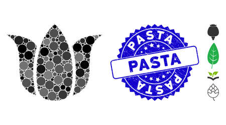 Mosaic tulip flower icon and rubber stamp seal with Pasta caption. Mosaic vector is created with tulip flower icon and with random round spots. Pasta stamp seal uses blue color, and rubber surface.