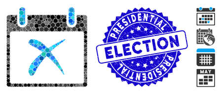 Mosaic reject calendar day icon and distressed stamp watermark with Presidential Election caption. Mosaic vector is created with reject calendar day pictogram and with random spheric spots. Ilustrace