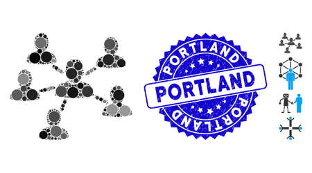 Mosaic user connections icon and rubber stamp seal with Portland caption. Mosaic vector is composed from user connections pictogram and with random circle items. Portland stamp seal uses blue color,