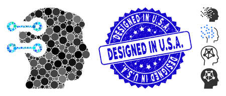 Mosaic head connectors icon and rubber stamp seal with Designed in U.S.A. caption. Mosaic vector is formed with head connectors icon and with randomized round spots. Designed in U.S.A.