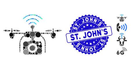 Mosaic radio camera drone icon and corroded stamp seal with St. JohnS text. Mosaic vector is composed with radio camera drone icon and with random spheric spots. St. JohnS stamp uses blue color,