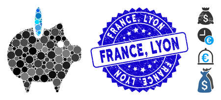Mosaic piggy bank icon and distressed stamp watermark with France, Lyon text. Mosaic vector is created with piggy bank icon and with random round spots. France, Lyon stamp seal uses blue color,