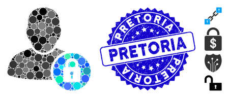 Mosaic user lock icon and rubber stamp seal with Pretoria phrase. Mosaic vector is formed with user lock pictogram and with scattered round elements. Pretoria stamp seal uses blue color, Illustration